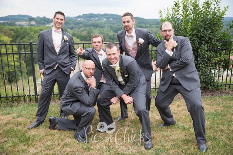 fun guys wedding pose