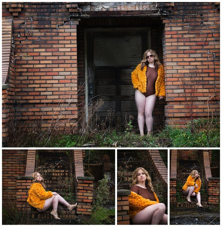 pittsburgh boudoir photographer outdoor session in abandoned location