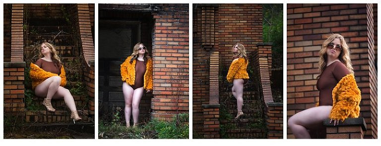 pittsburgh boudoir session in fur coat outside with a brick home