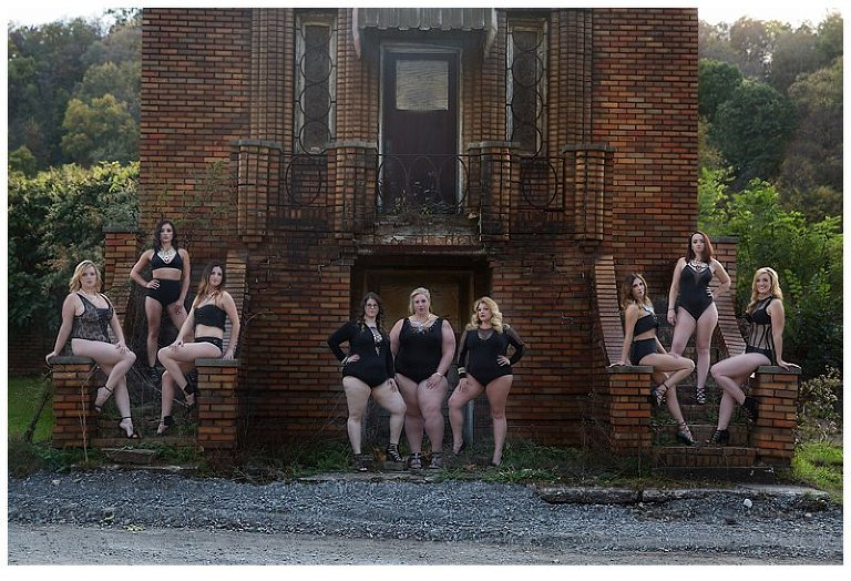 outdoor boudoir photo shoot in pittsburgh PA with 9 women