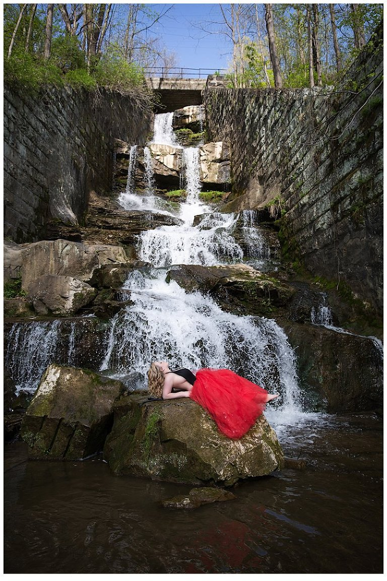 outdoor boudoir photo shoot in waterfall - Pittsburgh boudoir photography