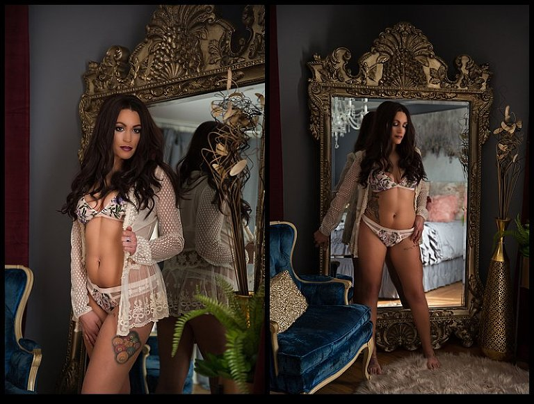boudoir photography pittsburgh woman in lingerie in front of ornate mirror