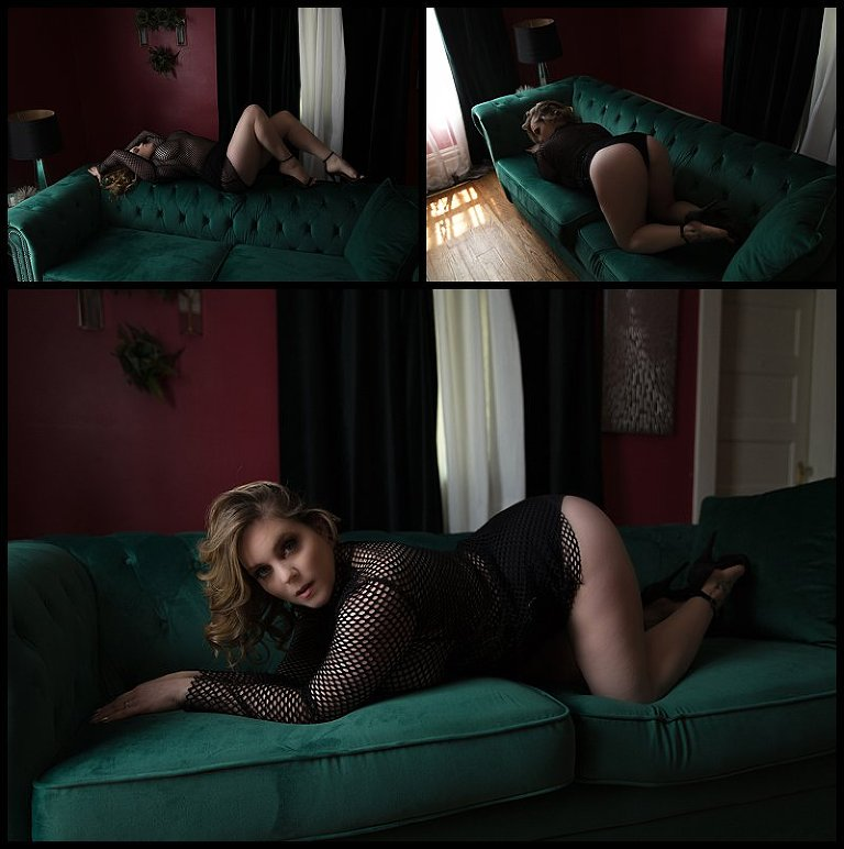 lingerie photos in fishnet bodysuit at boudoir studio in pittsburgh PA