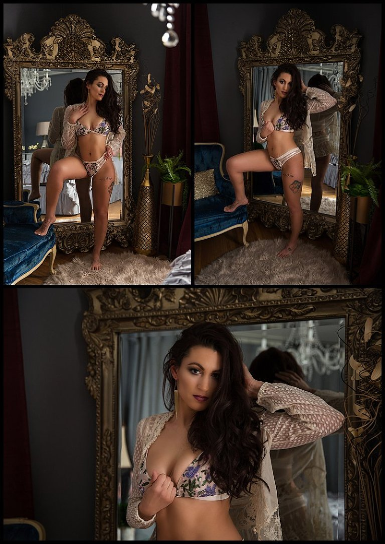 pittsburgh boudoir photography grand mirror in bedroom set floral lingerie