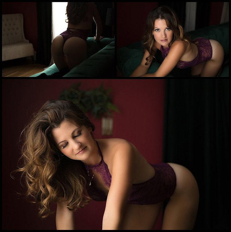 sexy photos of boudoir client in lingerie on sofa at pittsburgh boudoir studio