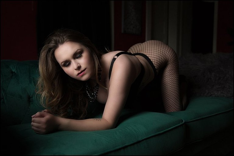 boudoir photos pittsburgh studio location woman in fishnets and bra