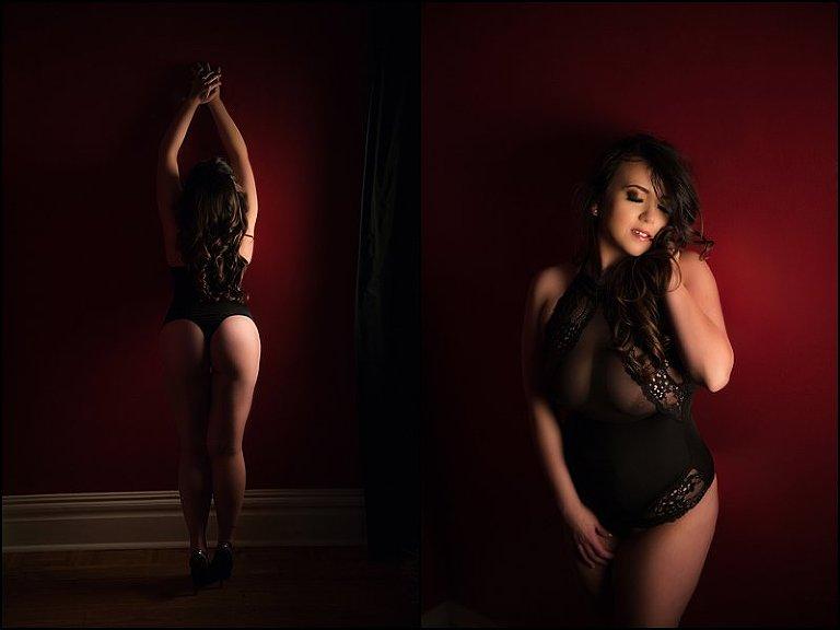 boudoir photos pittsburgh black bodysuit lingerie with dramatic lit photos at boudoir studio