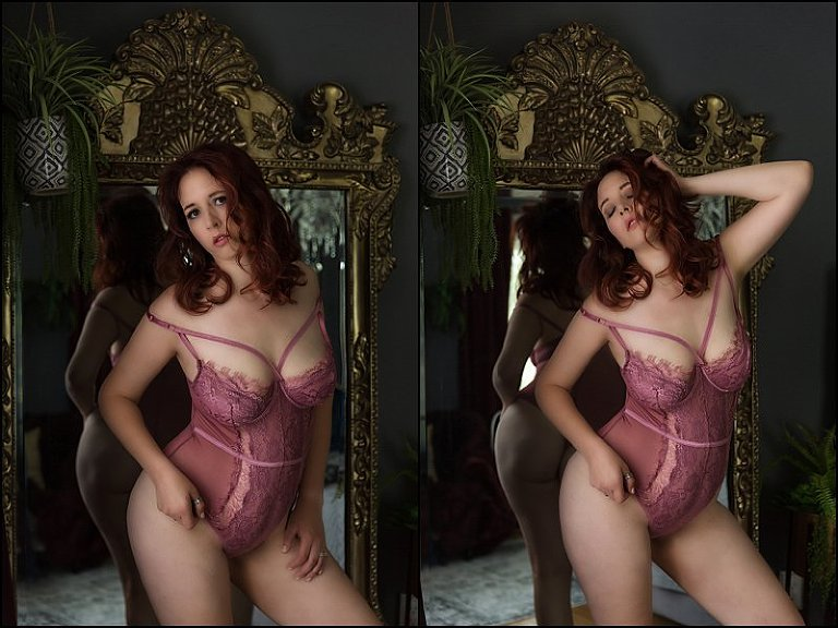 boudoir photography pittsburgh lingerie photos in front of ornate mirror