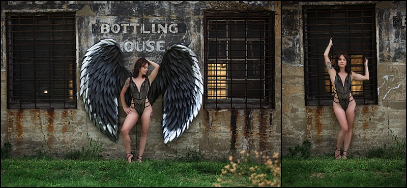 boudoir photos pittsburgh outdoor boudoir session with gray and silver wings