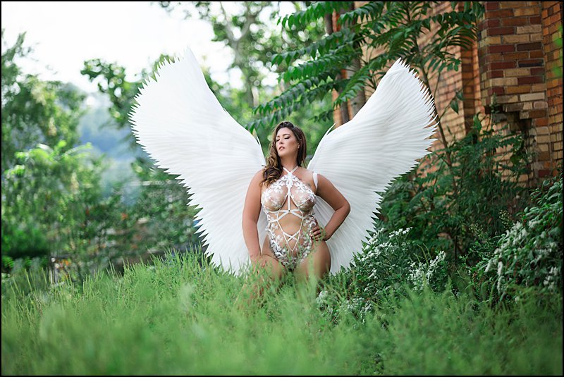 white fantasy wings photo shoot in pittsburgh PA for boudoir photo shoot