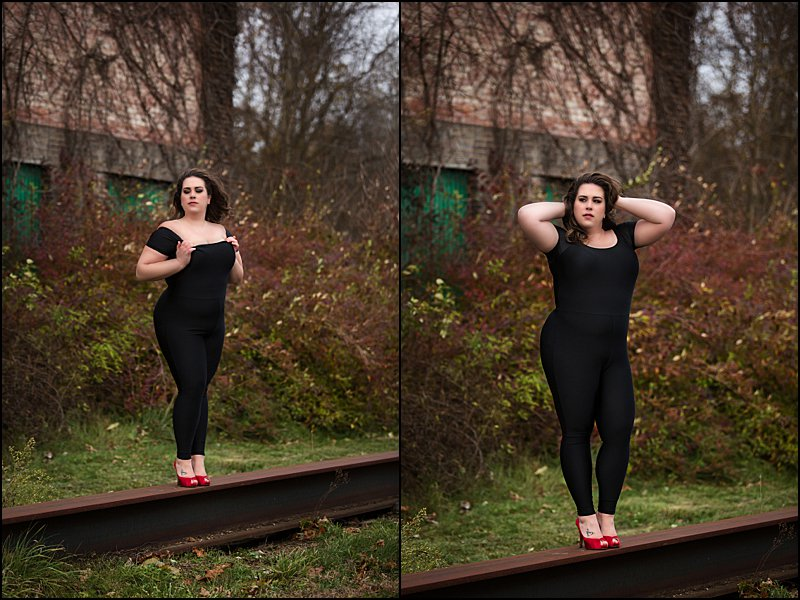 pittsburgh boudoir photos with outdoor session, sexy photos woman in black jumpsuit with red heels