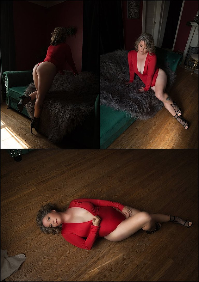 red lingerie photo shoot at pittsburgh boudoir studio pics by chicks photography