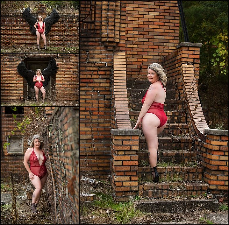 pittsburgh boudoir, red lingerie photo shoot outside with black wings