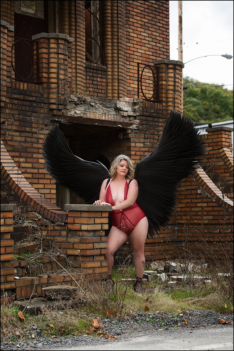 boudoir photography pittsburgh, black fantasy wings, boudoir session with Pittsburgh's Premier boudoir photographer