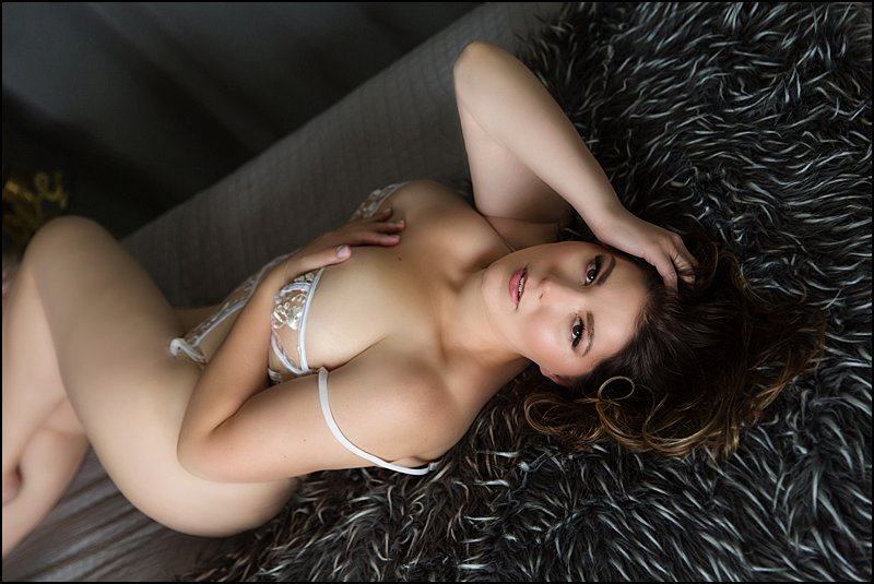pittsburgh boudoir, boudoir photo shoot with Pics By Chicks Photography, woman in white lingerie on bed
