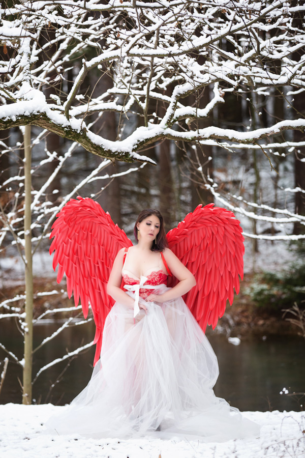 pittsburgh boudoir photographer, outdoor fantasy session with red wings and snow